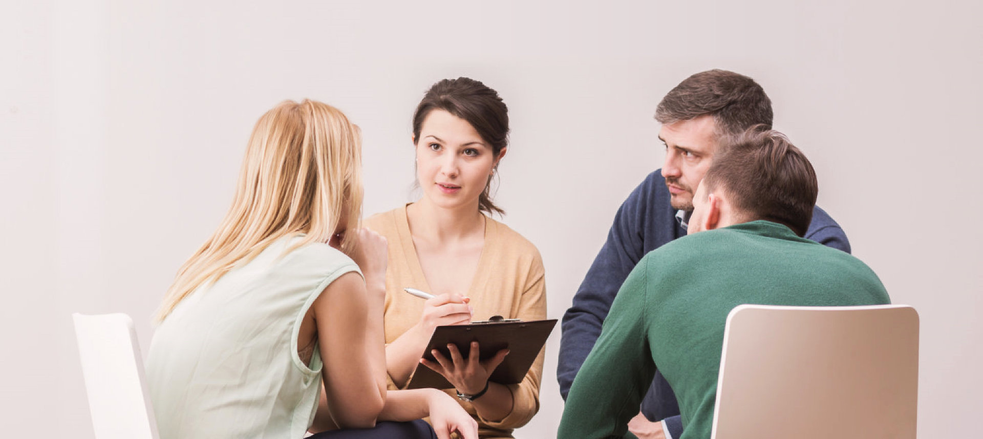 people having a group counselling
